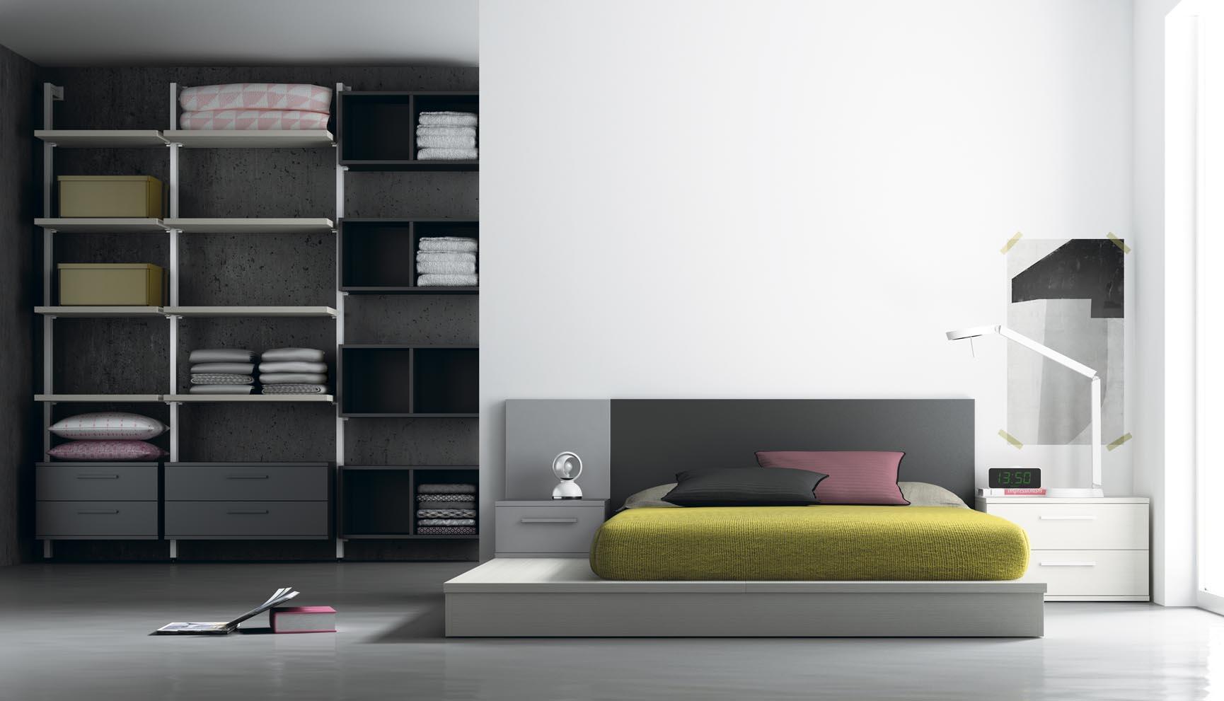 dormitorio minimalista con vestidor