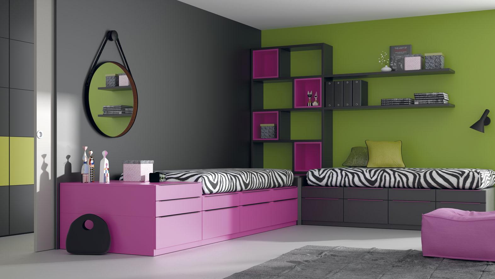 dormitori juvenil per a dos llits compactes bloc en ela moble juvenil